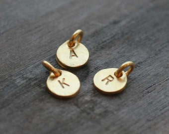 Hand Stamped Gold Vermeil Disc Charm - One (1) Charm