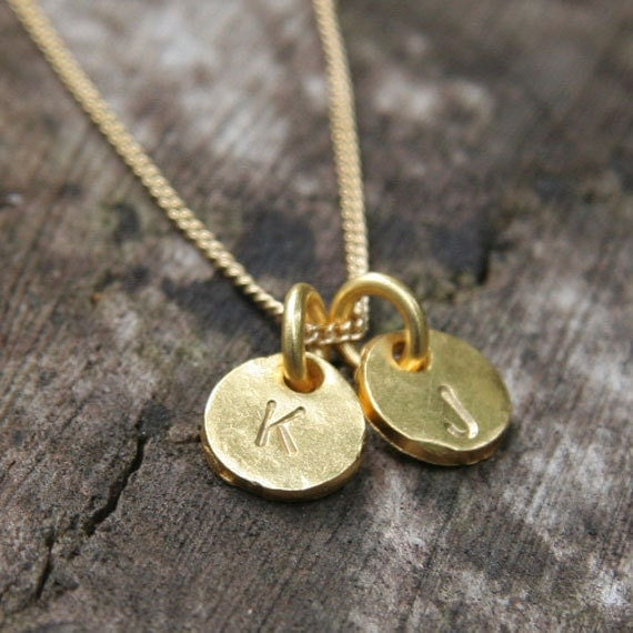 Gold Monogram Necklace - Two Initials Hand Stamped Gold Coin Discs Charm Necklace - Couples Necklace - Mothers Necklace