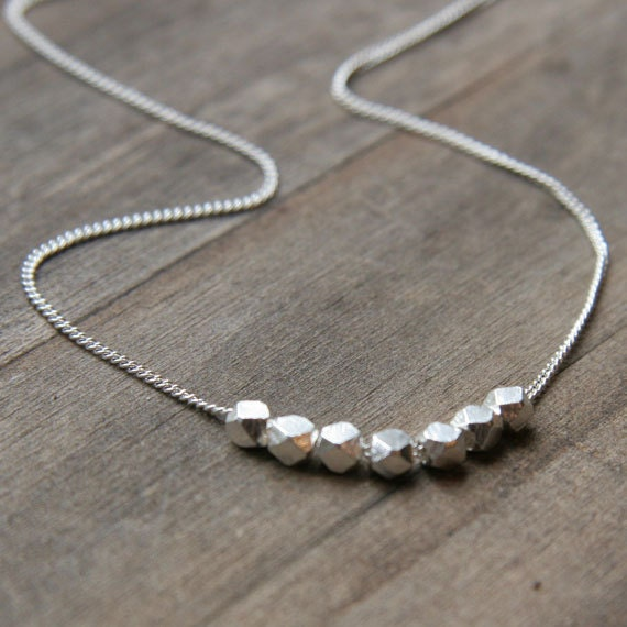Silver Nuggets Necklace // Simple Minimalist Sterling Silver Necklace // Modern Everyday Jewelry