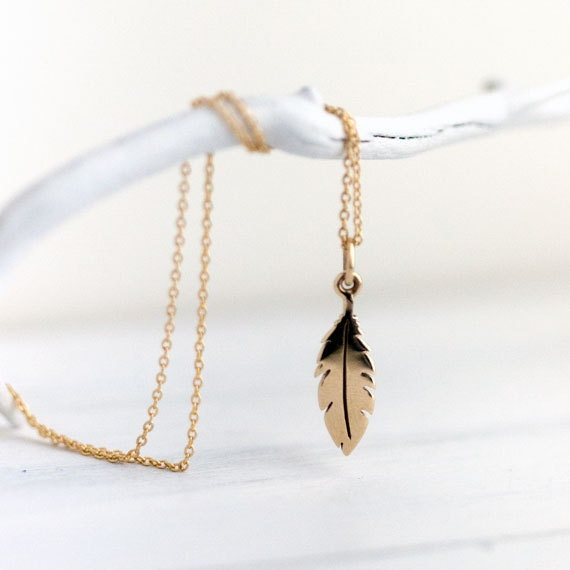 Tiny Simple Gold Feather Necklace / Dainty Bronze Metal Feather Pendant on Gold Filled Chain