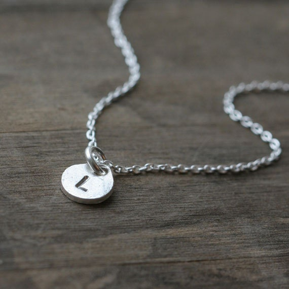Silver Personalized Necklace / Hand Stamped Monogram Coin Disc Initial Charm Necklace