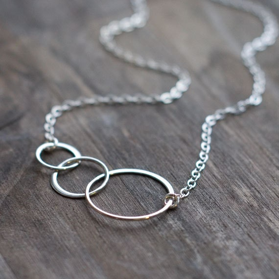 LAST ONE Entwined Circles Silver Necklace - Three Linked Sterling Silver Circles - Simple Minimalist Jewelry