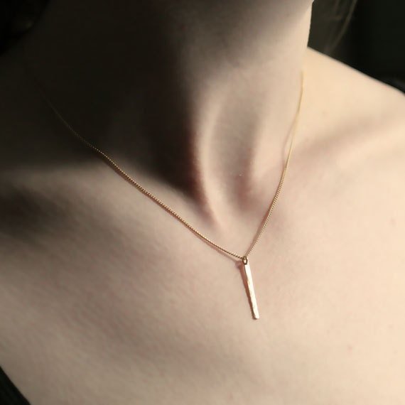 Gold Sequin Bar Necklace // Dainty Hammered Gold FIlled Necklace // Simple Minimalist Gold Jewelry