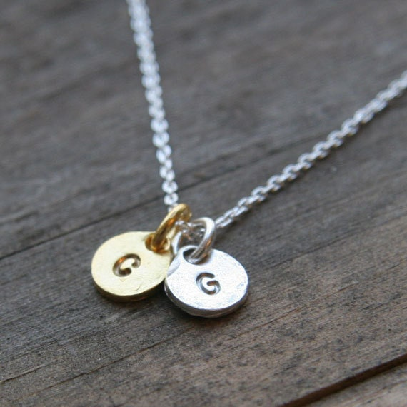 Gold & Silver Monogram Necklace / Two Hand Stamped Initial Coin DIscs on Sterling Silver Chain / Personalized Jewelry