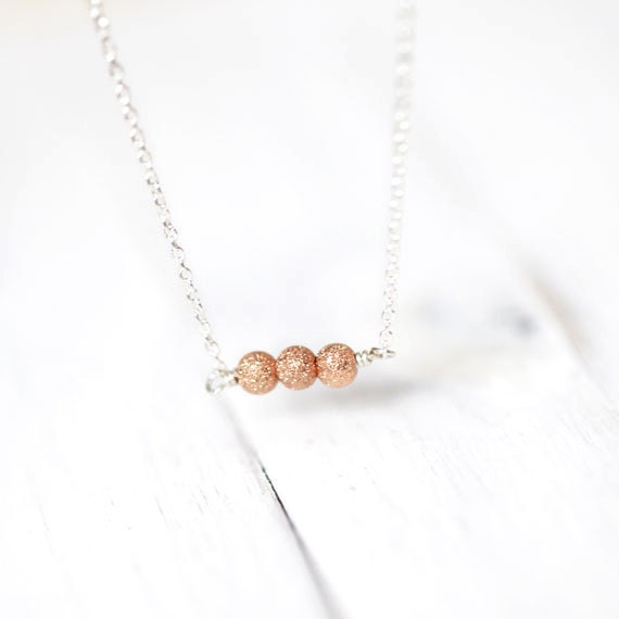 Rose Gold Stardust Necklace / Three Pink Rose Gold Sparkly Beads with Sterling Silver Chain