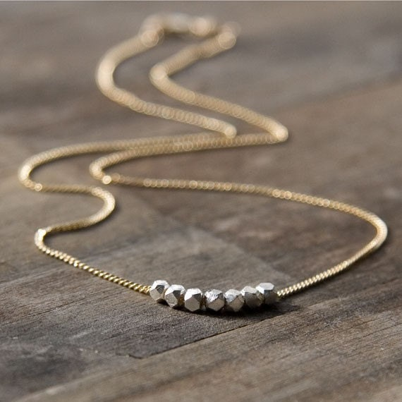 Nuggets Silver & Gold Necklace / Gold Filled Chain / Simple Minimalist Geometric Jewelry