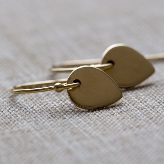 Tiny Gold Lotus Petal Earrings // Small Bronze Petal Leaf on 14K Gold FIlled Ear Wires // Simple Gold Earrings