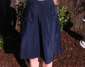 30s, 40s vintage navy pinstriped skirt with cute button pockets Size 10-12