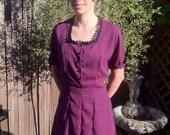 30s 40s Vintage inspired purple chiffon shirtwaist dress Size 16