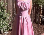 40s 50s Mad Men Vintage Inspired Pink Silk Party Dress size 14