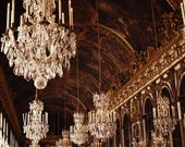 Versailles Hall of Mirrors. Paris Photo. Fine Art Photography. Marie Antoinette. Rococo. Crystal Chandeliers. Gold. Home Decor. Size A4