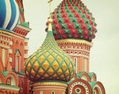 """Moscow Cathedral. Saint Basil's Art Print. Fine Art Photography. Russia. Wall Art. Home Décor. Tangerine Orange Green Yellow. Size 16x20"""""""