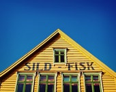 Norwegian Yellow Fish House. Fine Art Photography. Norway. Blue Skies. Size A4 - happeemonkee