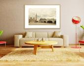 "London Photo. Big Ben. Fine Art Photography. London Décor. Mint Green Bridge. Creamy Beige. Clock. Landscape. Size 30"" x 20"""