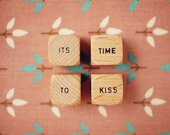 """It's Time To Kiss. Art Print. Fine Art Photography. Scrabble Dice. Word Blocks. Pink. Size 5x7"""". READY-TO-SHIP"""