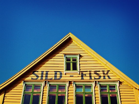 Sunny Yellow House. Vintage Bergen Wharf. Norway. Blue Skies. Green Windows. Fisherman Hut. Fine Art Travel Photography 8x10""