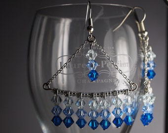Chandelier Earrings with Swarovski Bicones - Ocean Blue