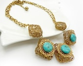 Modern statement necklace Turquoise and gold filigree