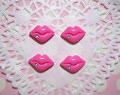 BLOWOUT SALE Mini sexy pink lips with rhinestone - 4 pcs