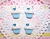 BLOWOUT SALE  Sweet blue little cupcake 19 x 15 mm - 4 pcs