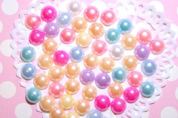Assorted mix colors flatback pearls 10mm - 50 pcs