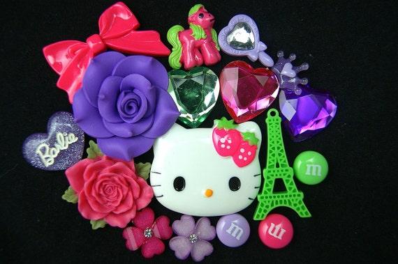 Purple/Pink/Green kawaii deco mix cabochons - 20 pcs