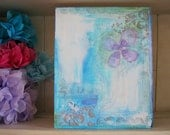 Miracles - A mixed media painting in blue, lilac and white on wood panel