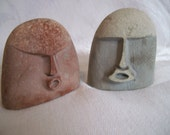 Carved Stone Rocks Singing Faces/ Paperweights