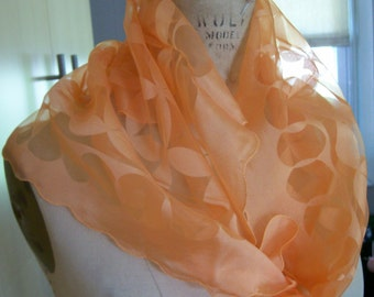Vintage 1960's Retro Orange Frosty Dreamcicle Floral Nylon Scarf / Another Hit