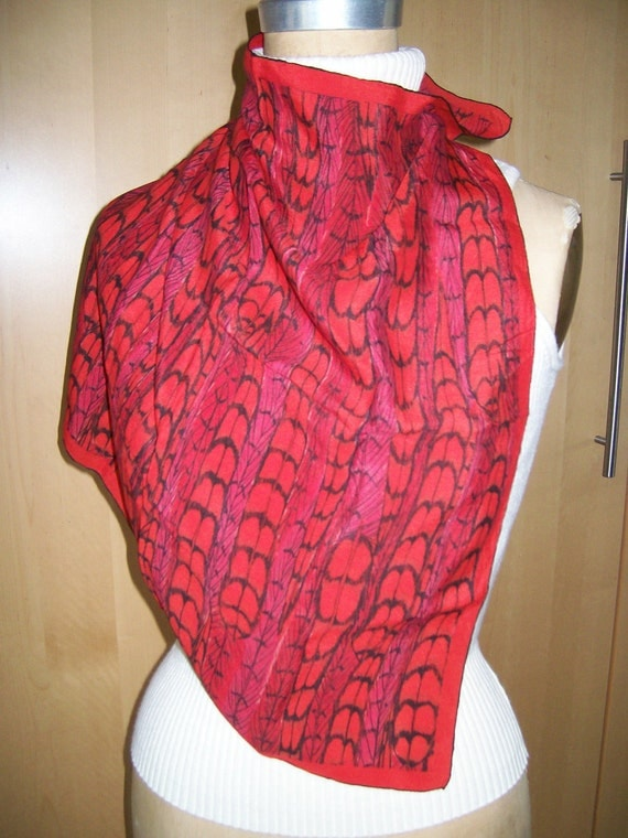 Vintage Hand Rolled Vera Red Feathers 100% Silk Scarf