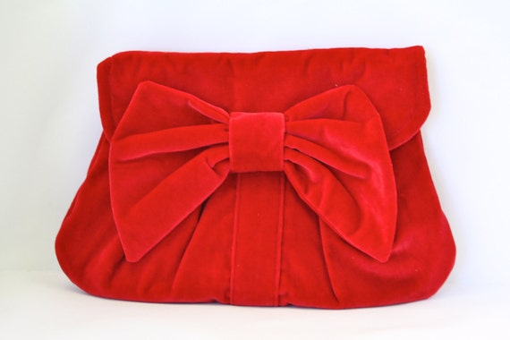 Romantic Retro Red Velvet Clutch with Bow - MADE TO ORDER