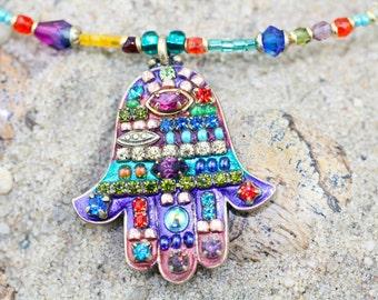 Multibright Mosaic Hamsa Hand Necklace
