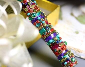 Multi Color Crystal Mosaic Mezuzah