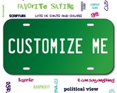 Mirrored Acrylic License Plate Green Car Tag Mirror Custom Personalized Vehicle Business Logo Monogram Engagement Announcement Wedding