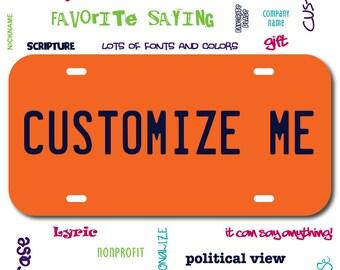 Plastic License Plate Orange Car Tag Custom Personalized Vehicle Business Logo Monogram Engagement Announcement Wedding