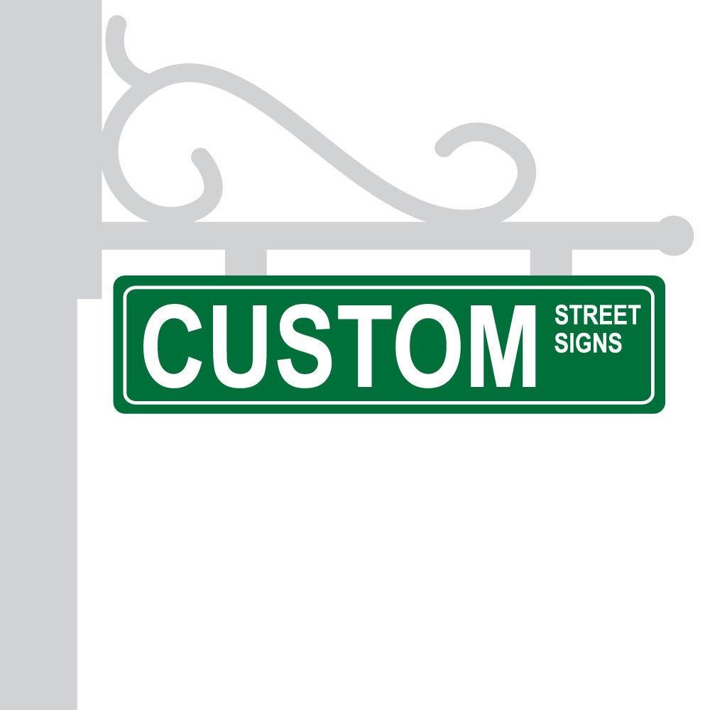 Metal Street Sign Custom Green Personalized Gift Unique