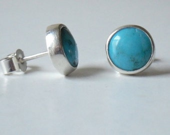 Turquoise Studs - Real 8mm turquoise stones set in silver