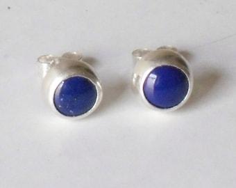 Lapis Studs -Real 8mm lapis lazuli stones set in silver