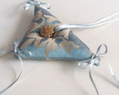 Triangle Weddings Ring Bearer Pillow - Babay Shower Cushion in sweet Mint Green Damask Fabric. Handmade and OOAK