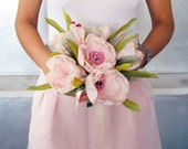 Bridal Wedding Bouquet with Pink Fabric Tulip Flowers. Lightweight. Handmade. Unique Design. OOAK