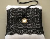 Bridal Ring Bearer Pillow Cushion, Black White Wedding, Romantic Black Lace, Handmade, Unique Design.