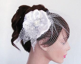 Birdcage Veil Bridal Headpiiece, Wedding Hair Flower Fascinator, Detachable Birdcage Veil, Silver, Romantic Wedding Unique item