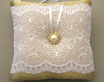Weddings Ring Pillow, Baby Shower  Cushion, Neutral Honey Satin Fabric, White Lace, Handmade.