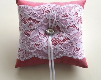 Weddings Ring Bearer Pillow, Cushion Babay Shower Pillow: Pink Cotton Fabric. Handmade