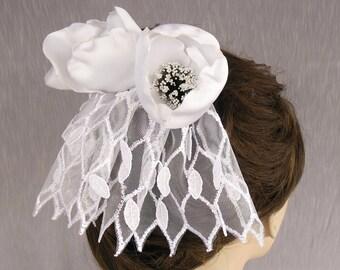 Mini Bridal Veil Head Piece: Tulip Fascinator with White Birdcage Veil. Handmade and OOAK.
