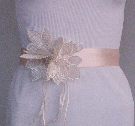 Satin Weddings Dress Belt, Bridal Sash, Champagne, Cream Ribbon, Rose Quartz Wedding, OOAK, Handmade
