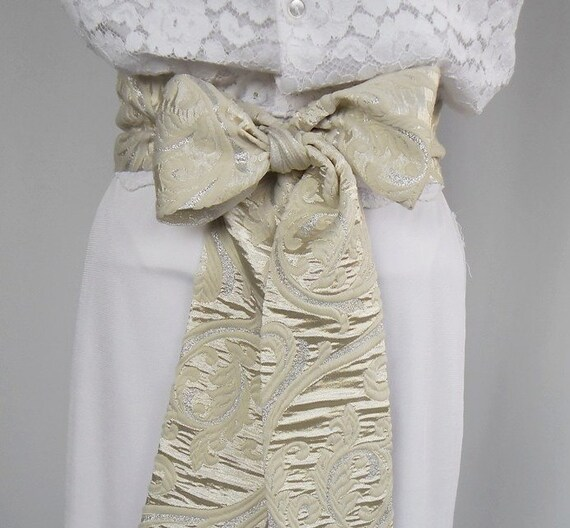 Cream Ivory Bridal Obi Sash, Weddings Dress Belt, Double Sided Usage. Handmade