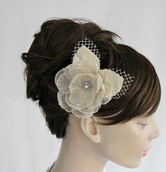 Weddings Hair Flower Ivory Cream Bridal Head Piece. Handmade. Unique Design