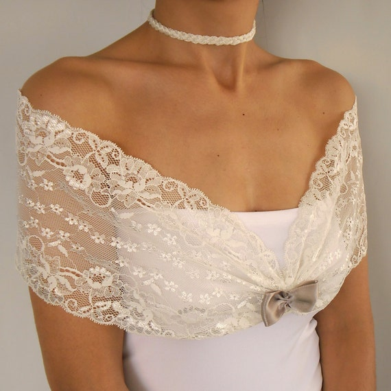 RESERVED for JesusKile: Romantic Bridal Lace Shoulder Wrap in Ivory Cream Elastic Lace with Cream Bow.