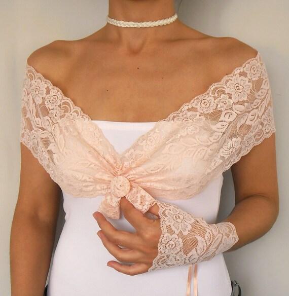 Lace Bridal Shoulder Wrap, Romantic Peach Blush Pink, Weddings Necklace. Handmade
